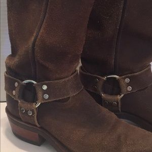 CHIPPEWA SUEDE/ LEATHER Brown HARNESS BOOTS UNISEX